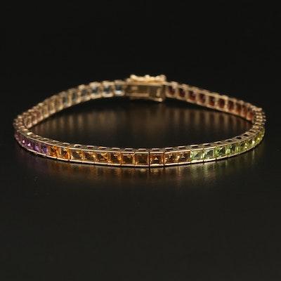10K Bracelet with Topaz, Amethyst, Citrine and Other Assorted Gemstones