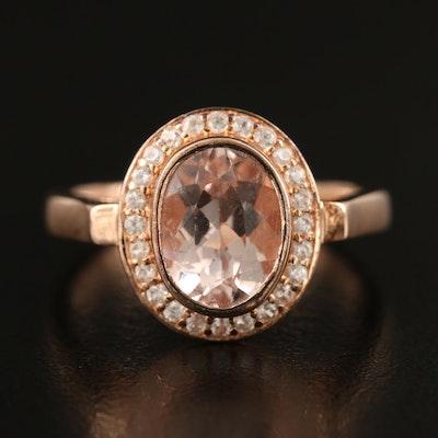 Sterling Morganite and Zircon Halo Ring