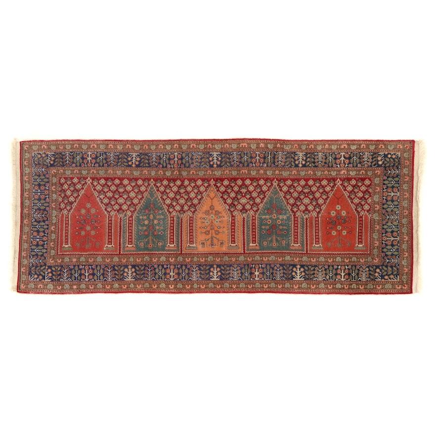 3'1 x 8' Hand-Knotted East Turkestan Saph Prayer Rug