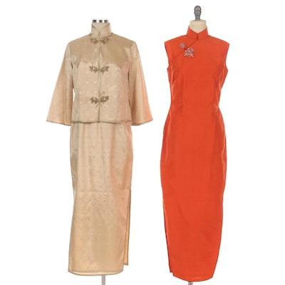 Cheongsam and Chinoiserie Style Sleeveless Dress and Set