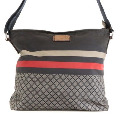 Gucci Messenger Bag in Striped and Diamante Nylon with Leather Trim