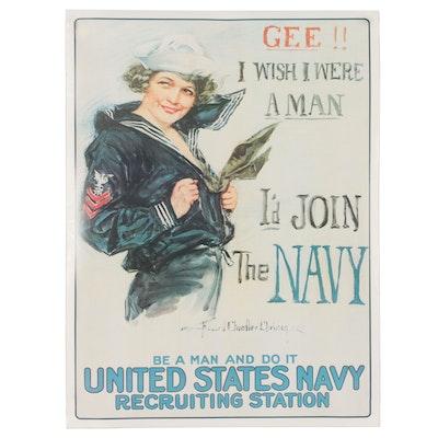 Offset Lithograph After Howard Chandler Christy U.S. Navy Poster