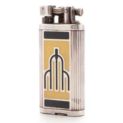 "Dunhill ""Manhattan"" Enameled Silver Plate Lighter, Mid-20th Century"