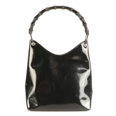 Gucci Bamboo Handle Hobo Bag in Black Glazed Leather