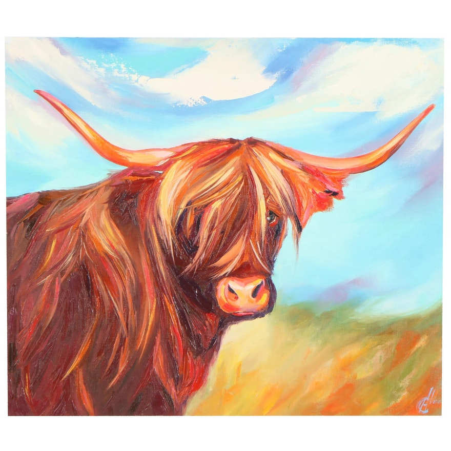Alyona Glushchenko Oil Painting of Highland Cow, 21st Century