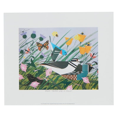 """Offset Lithograph After Charley Harper """"There Was Once a Field,"""" 21st Century"""