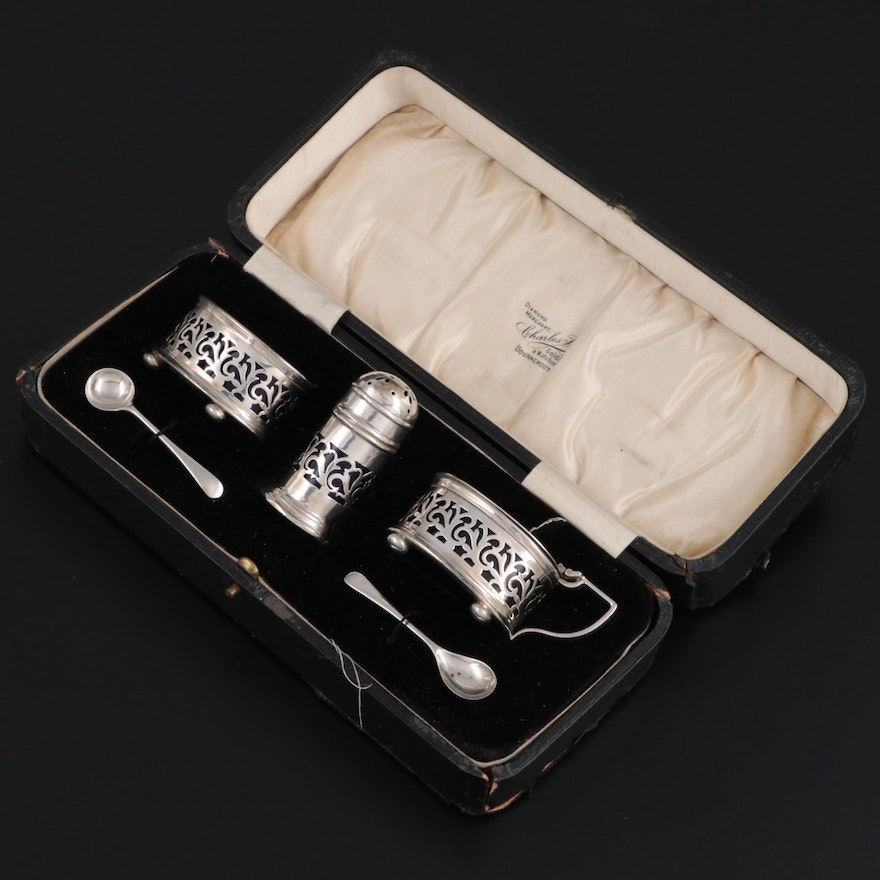 Docker and Burn Condiment Set and Other English Sterling Silver Salt Spoons