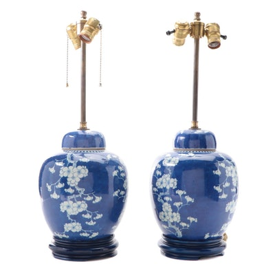 Chinese Porcelain Cracked Ice Plum Blossom Ginger Jar Table Lamps, Mid-20th C