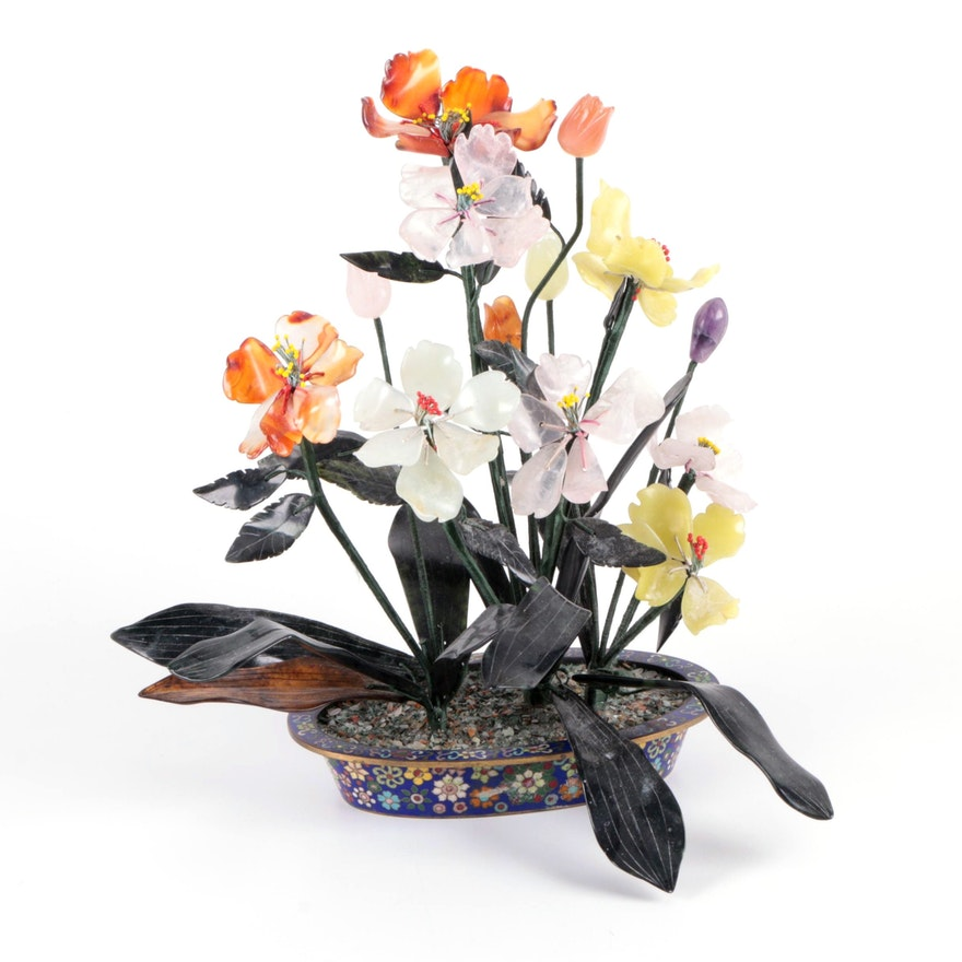 Chinese Carved Gemstone Flowers in Cloisonné Pot