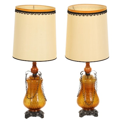 Pair of Amber Glass Table Lamps, Mid-20th Century