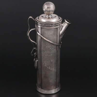 Derby Silver Co. Silver Plate Golf Bag President's Cup Award Cocktail Pitcher