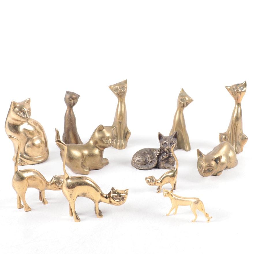 Brass Cat Figurines