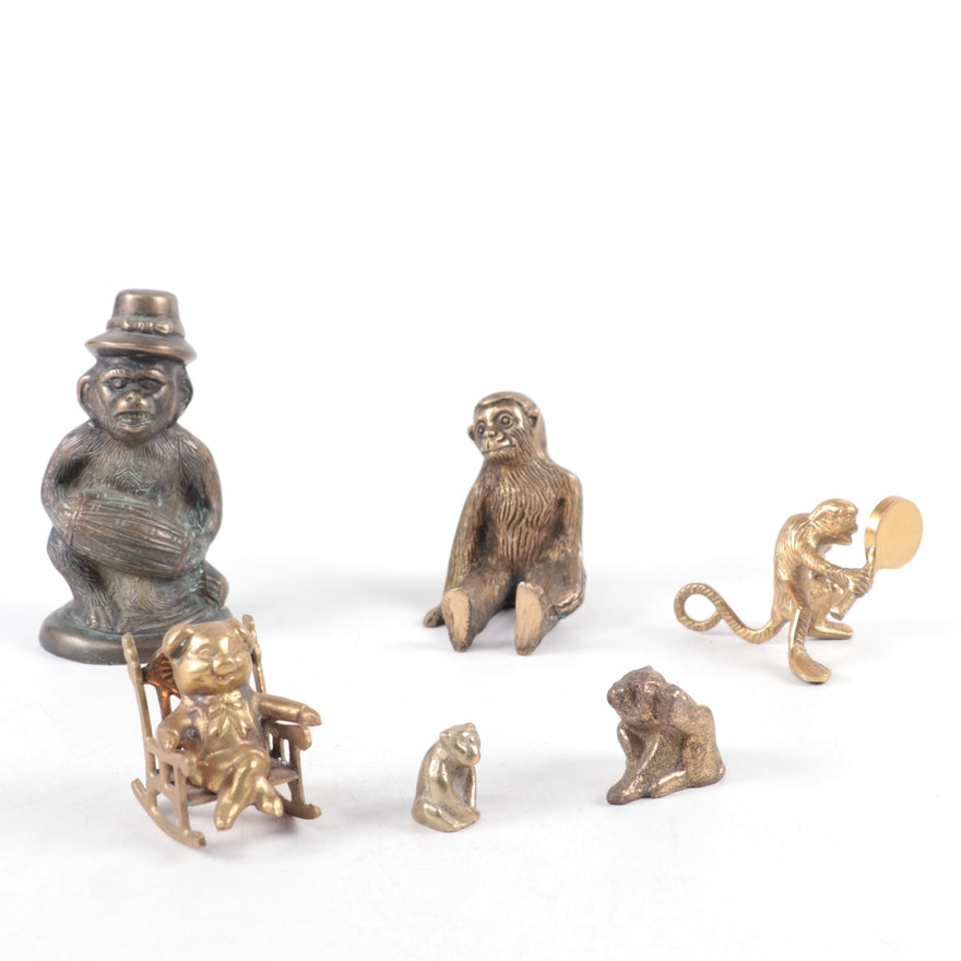 Brass Monkey and Pig Figurines