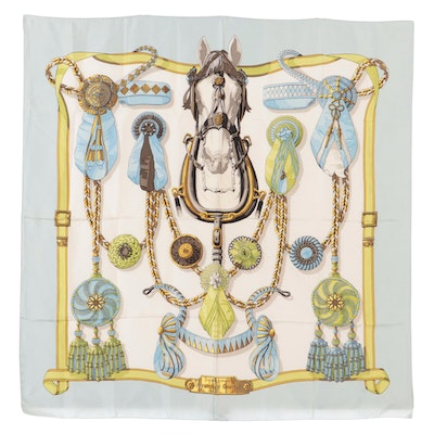 """Hermès Early Issue """"Frontaux et Cocardes"""" Silk Twill Scarf with Gift Bag"""