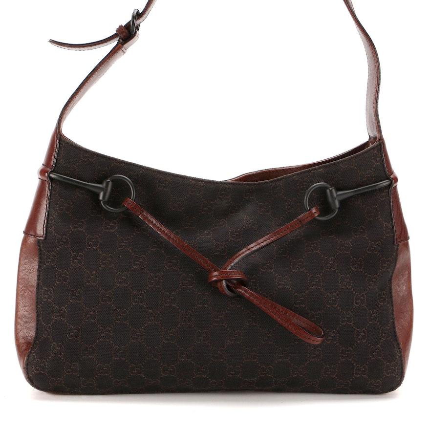 Gucci Horsebit GG Canvas and Leather Shoulder Bag