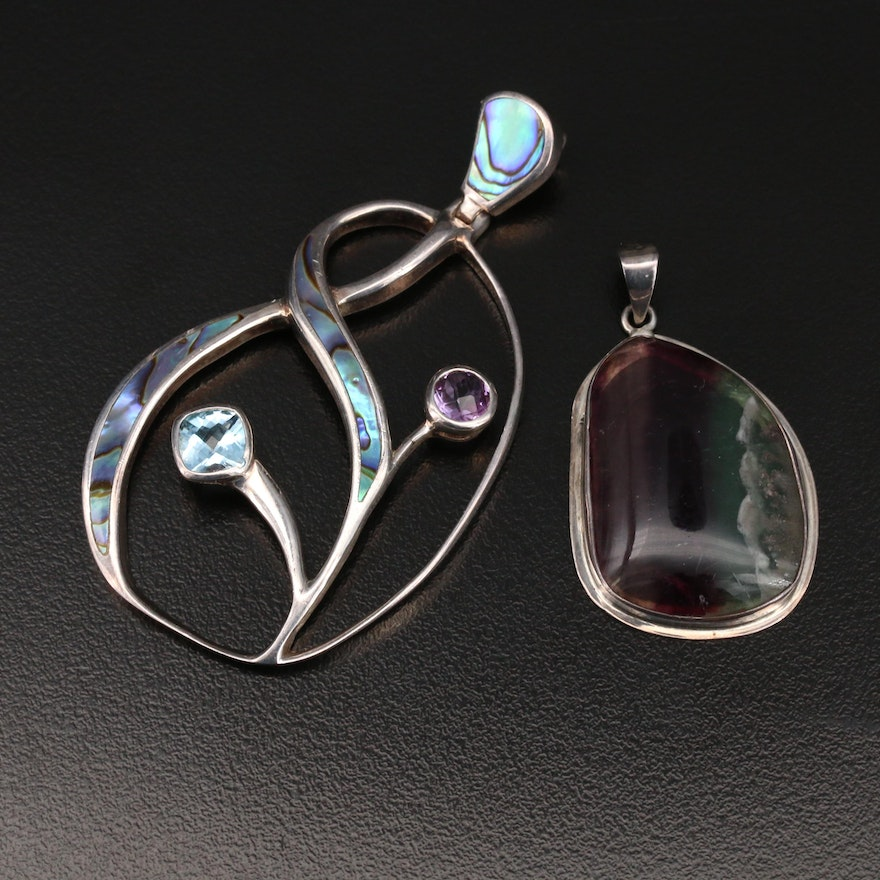 Sterling  Abalone, Topaz and Gemstone Pendants