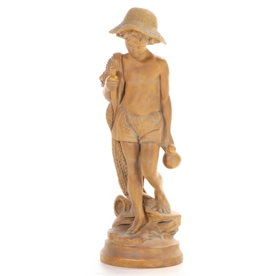 House Parts Inc. Patinated Composite Statue of Boy with Net