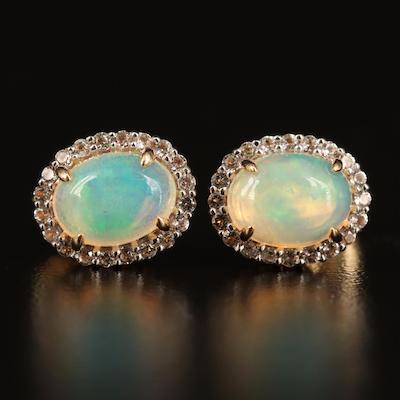 14K Opal and Topaz Halo Stud Earrings