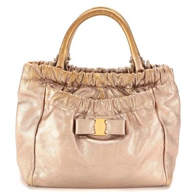 Salvatore Ferragamo Vara Bow Gathered Metallic Leather Top Handle Bag