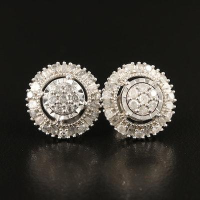 Sterling 1.06 CTW Diamond Cluster Halo Earrings