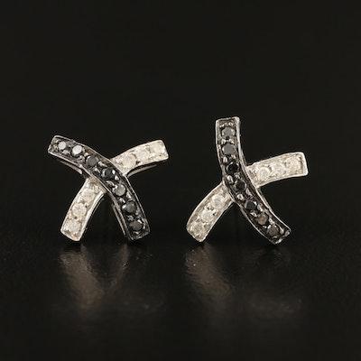 """14K Diamond """"X"""" Stud Earrings"""