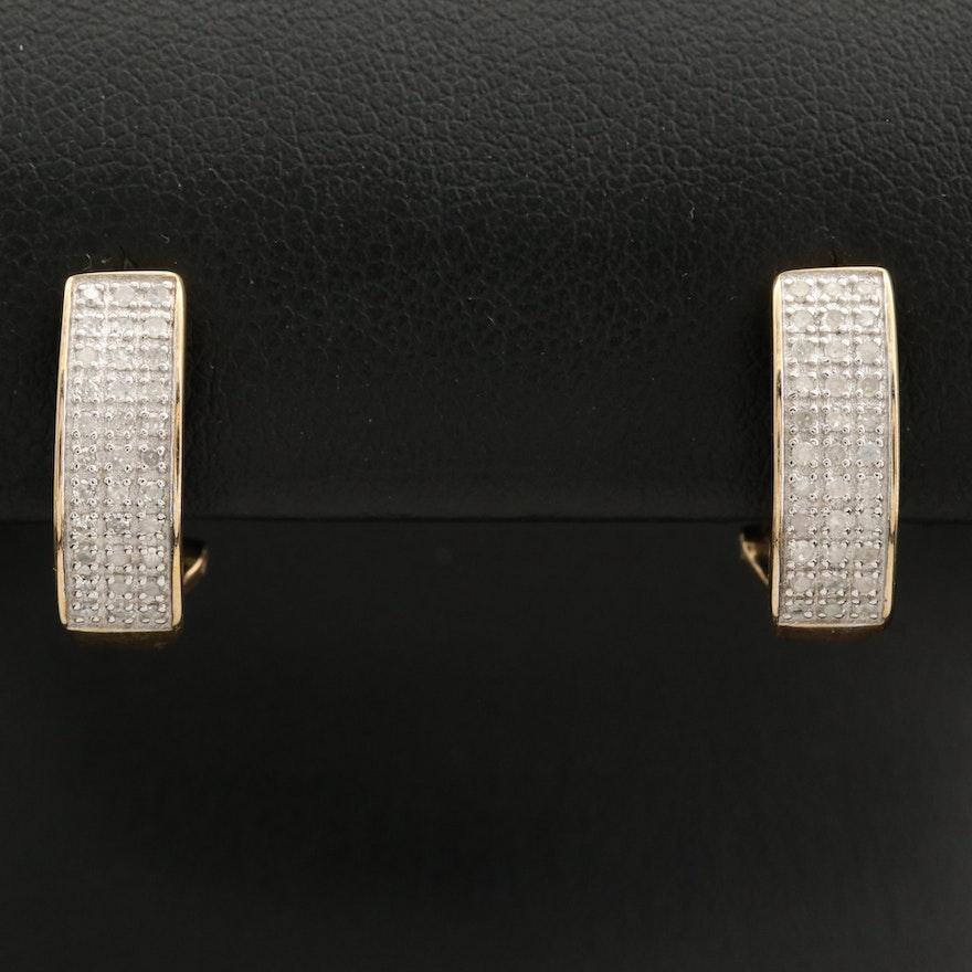 10K Pavé Diamond J-Hoop Earrings