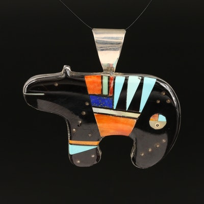 Signed Southwestern Style Sterling Fetish Bear Inlay Pendant