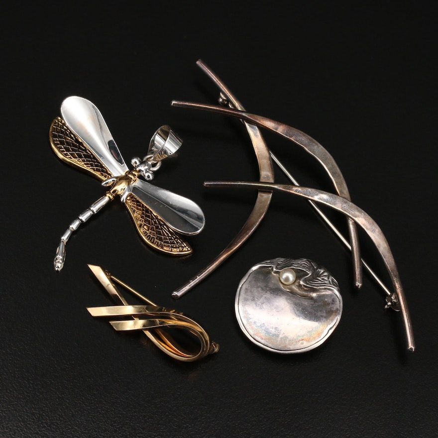 Brooches Including Sterling, Pearl and Dragonfly Pendant