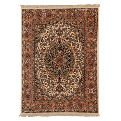 5'6 x 8' Machine Made Birjand Reproduction Floral Medallion Area Rug