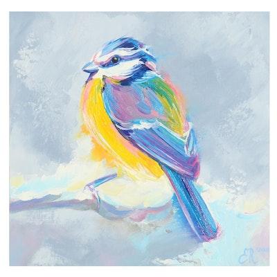 Elena Ray Oil Painting of Bird, 21st Century