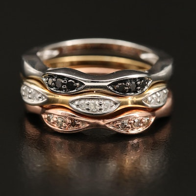 Sterling Silver Diamond Contoured Stacking Bands