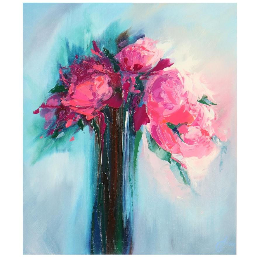 Alyona Glushchenko Floral Still Life Oil Painting, 2021