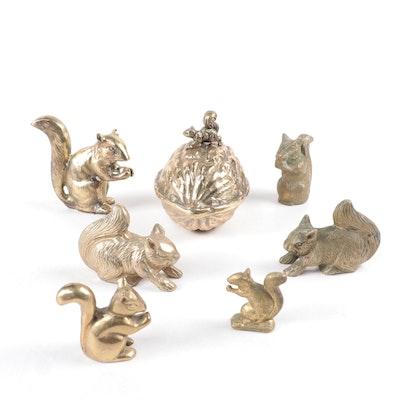 Brass Squirrel Figurines