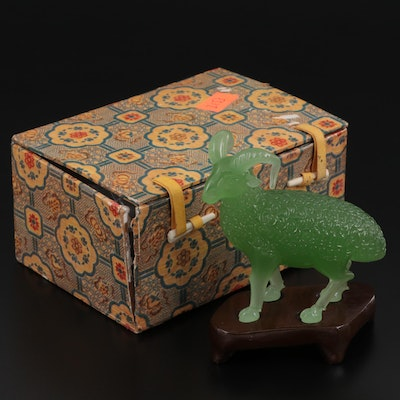 Chinese Glass Ram Figurine with Wood Base and Presentation Box