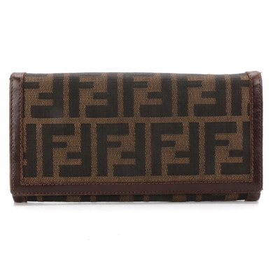 Fendi Continental Wallet in Tobacco Zucca Canvas with Leather Trim