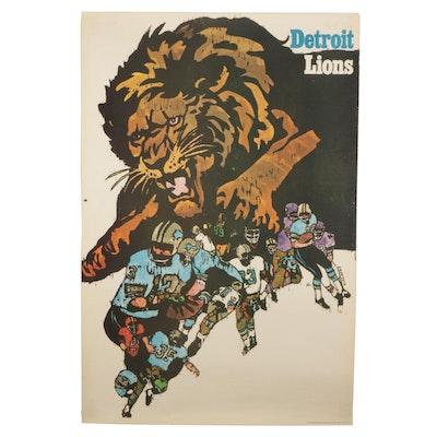 """NFL Collector's Series"" Letterpress Halftone Poster ""Detroit Lions,"" Circa 1968"