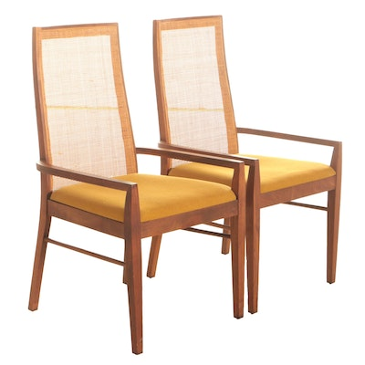 Founders Furniture Inc. Mid Century Modern Teak and Cane High Back Armchairs