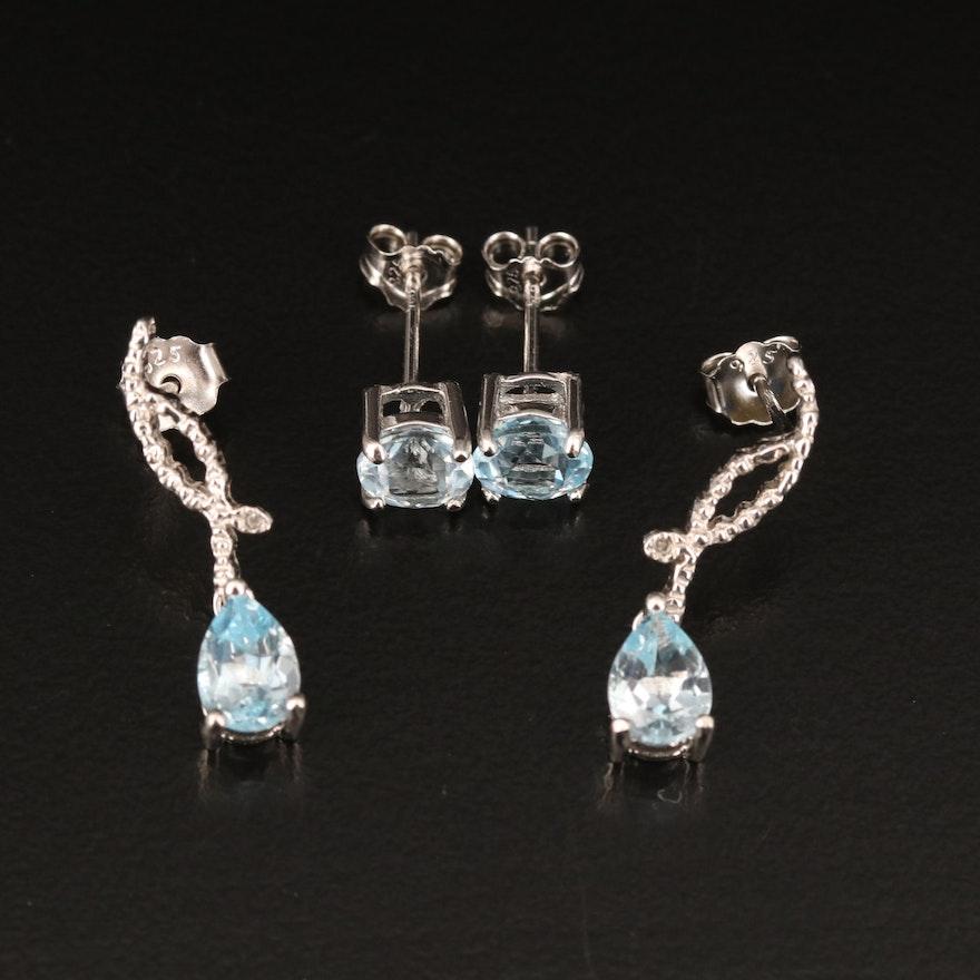 Sterling Earrings Including Sky Blue Topaz and Diamond