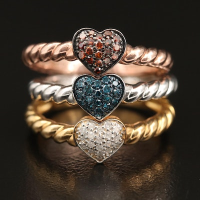 Sterling Silver Pavé Diamond Heart Stacking Rings