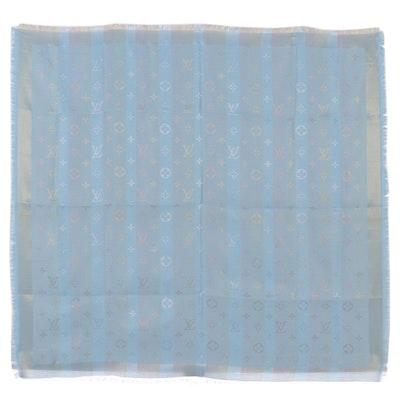 Louis Vuitton Châle Silk Blend Scarf in Light Blue Shine Monogram