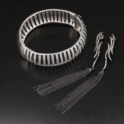 Sterling Cubic Zirconia Openwork Bracelet and Tassel Earrings