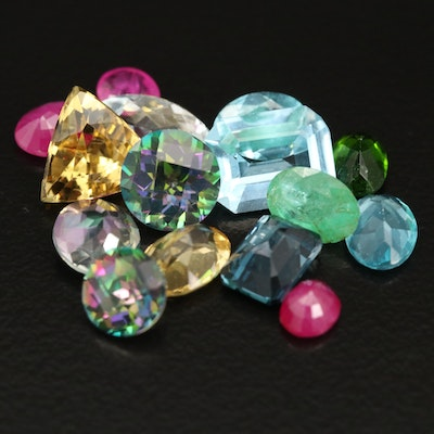 Loose 14.18 CTW Mixed Faceted Gemstones Including Ruby and Emerald