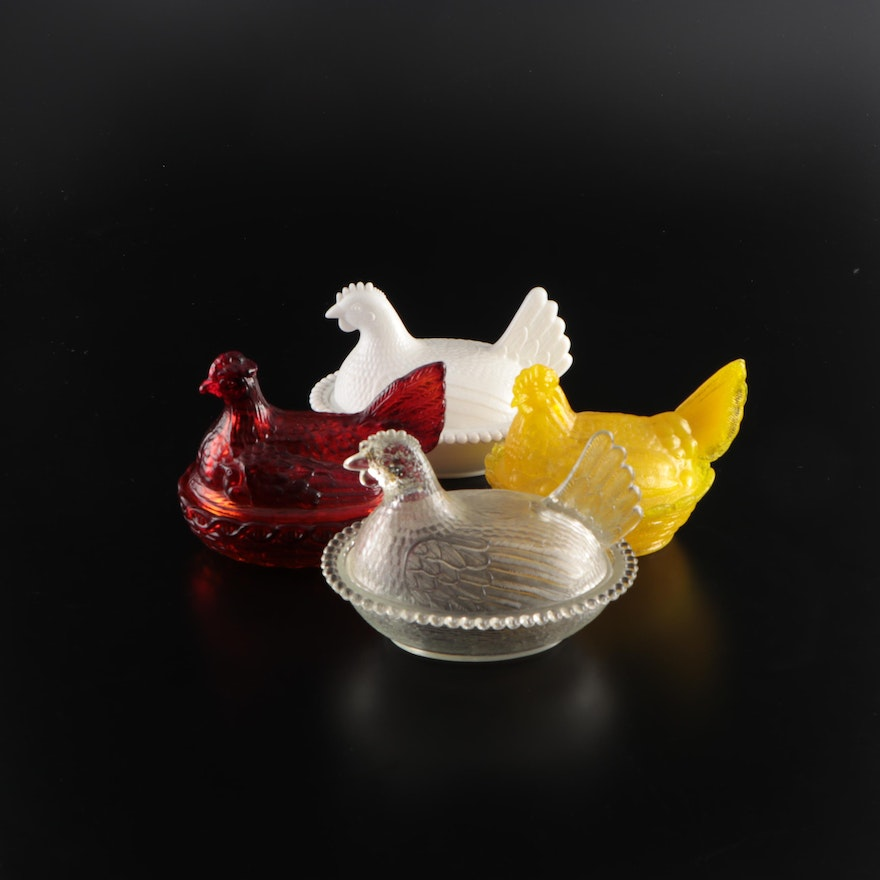 Indiana Glass, L.E. Smith and Other Glass Hen on Nest Dishes