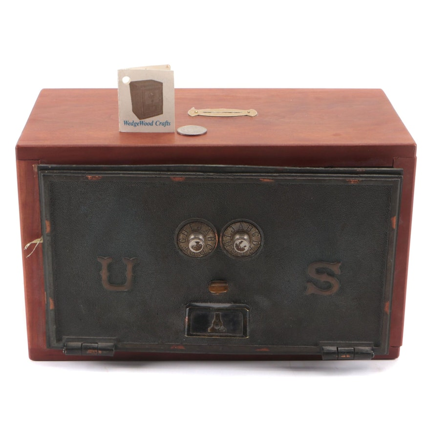 WedgeWood Crafts Cherrywood and Brass Post Office Box Converted to Savings Bank