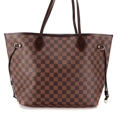Louis Vuitton Neverfull MM in Damier Ebene Coated Canvas and Smooth Leather