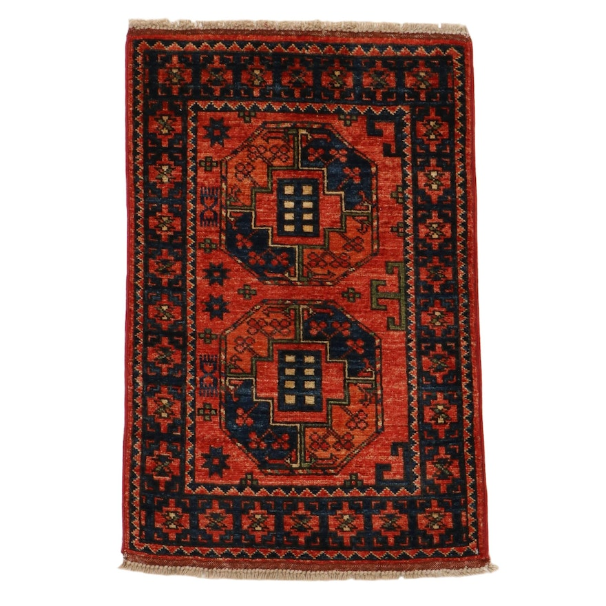2'1 x 3'2 Hand-Knotted Afghan Turkmen Rug, 2010s
