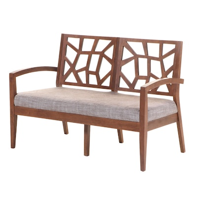 Contemporary Hardwood and Plywood Double-Chairback Settee
