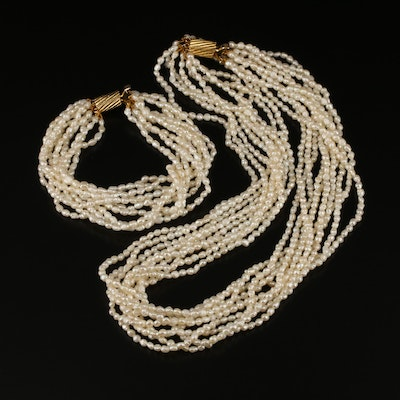 Pearl Multi-Strand Necklace and Bracelet