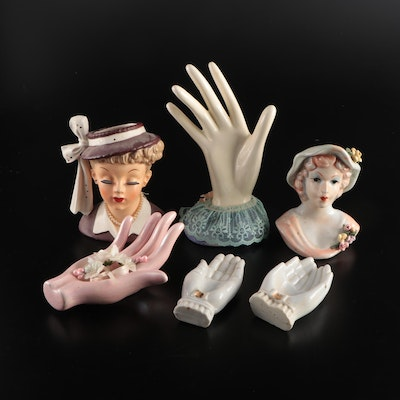 Napco Japanese Ceramic Lady Head Vase and Other Vases and Figurines