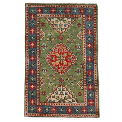 2'8 x 4' Hand-Knotted Afghan Caucasian Kazak Rug, 2010s